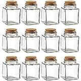 Botellas de vidrio transparente con tapón de corcho Juvale (paquete de 12) - Frascos pequeños transparentes con tapones - 100 ml