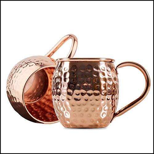 Sir Finley Monkey Moscow Mule Becher (2er Set), Kupferbecher gehämmert, hält Cocktails länger kalt, original Copper Mug Geschenk (100 % Kupfer), Gin Mug 450 ml (Design Fass)