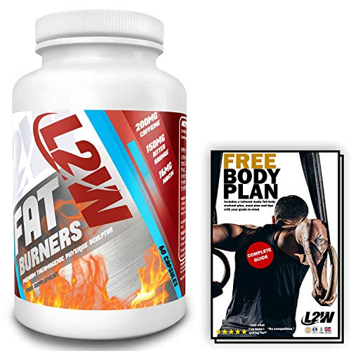 L2W Fat Burners Weight Loss Pills for Women & Men I 60 Fat Burning Pills I Gluten Free I Potent Thermogenic I UK Made I ISO & GMP Certified I Free Diet and Workout Plan