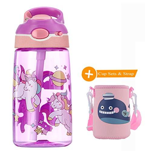 WenX Lindos Botella de Agua para Niños 450 ml- Leak Proof BPA Free, Botella de Agua Deportiva con Pajita, para Deportes y Aire Libre (Unicornio)