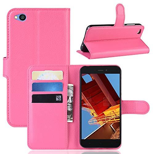 MISKQ Funda para Xiaomi Redmi Go/Xiaomi Redmi Go,Funda con diseño de Cartera,Estuche para el teléfono Anti caída,Estuche de Silicona(Rosa roja)