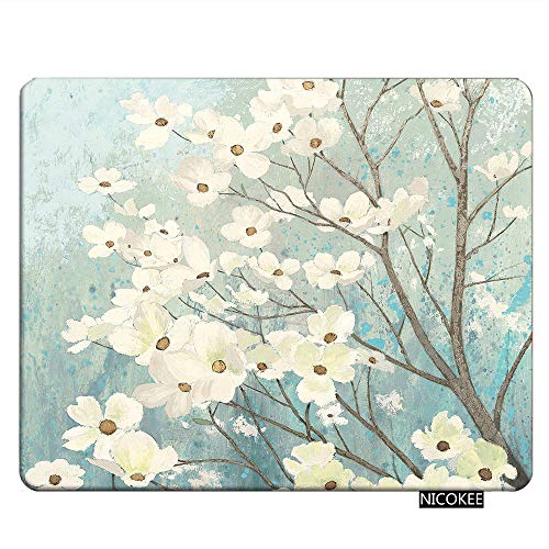 NICOKEE Floral Rectangle Gaming Mousepad Spring Dogwood Blossoms Light Blue White Mouse Pad Mouse Mat for Computer Desk Laptop Office 9.5 X 7.9 Inch Non-Slip Rubber