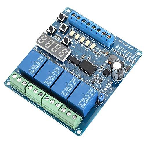 LIMEI-ZEN Placa de Circuito de Módulo de relé, 8-36V 4 Canales Placa de Interfaz de relé multifunción Tiempo de retardo del módulo LED del optoacoplador