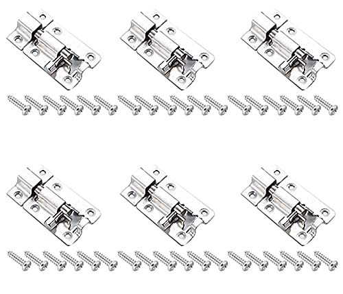 Hrbtag Türriegel Edelstahl, 6 Stück Schiebeschlösser Schlossriegel mit Schrauben Schubriegel Bolzenriegel Mit Schrauben Riegelschloss für Badezimmertürschloss Loft Hatch Catch Window 1.5inch (Silber)