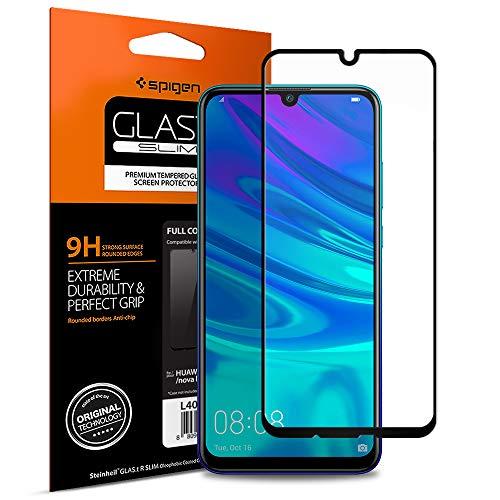 Spigen, Panzerglas Schutzfolie kompatibel mit Huawei P Smart 2019 / Honor 10 Lite, Schwarz Volle Abdeckung, 9H gehärtetes Glas, Antikratz, Glas 0.33mm, Huawei P Smart 2019 Schutzfolie (L40GL26096)