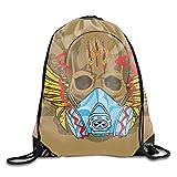 Drawstring Bags/Backpack/Shoulder Bags/Gym Bag, Dust Proof Drawstring Storage Pouch Bag Skull...