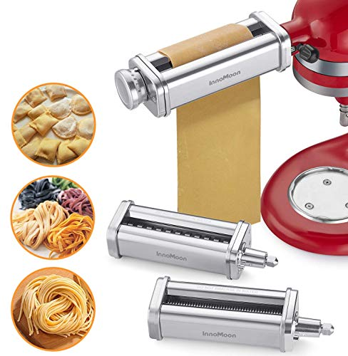 InnoMoon 3-Piece Pasta Roller & Cutters Attachments Set for KitchenAid Stand Mixers, included Pasta Sheet Roller,Spaghetti & Fettuccine Cutter Maker Accessories