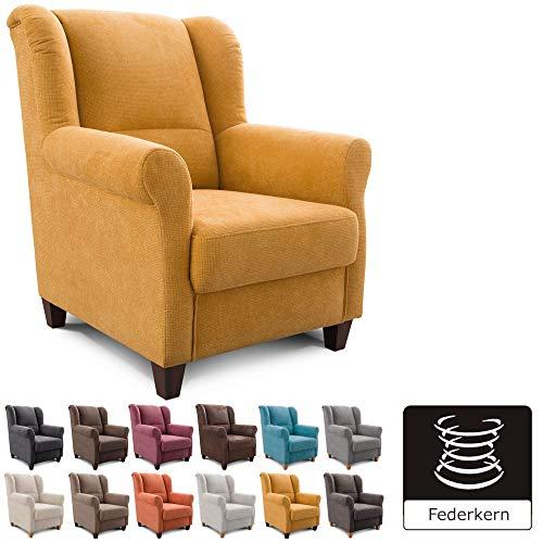Cavadore Sessel Finja mit Federkern / Ohrensessel im Landhausstil / passender Hocker separat erhältlich / 87 x 102 x 96 / Webstoff Gelb