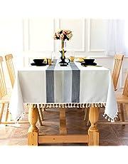 Sunbeauty Mantel Mesa Rectangular Algodon Lino con Borlas 140x180 cm Mantel Resistente Table Cloth Rectangle Tablecloth para Mesa de Comedor