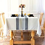 Sunbeauty Mantel Mesa Rectangular Algodon Lino con Borlas 140x180 cm Mantel Resistente Table Cloth Rectangle Tablecloth para Mesa de Comedor