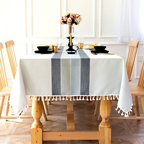 Sunbeauty Manteles Mesa Rectangular Tela Algodon Lino con Borlas 140x220 cm Mantel Antimanchas Elegante Table Cloth Rectangle Tablecloth para Mesa de Comedor