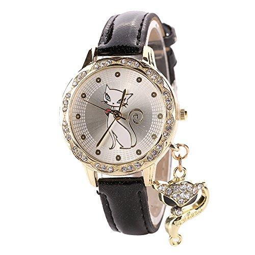 Doingshop Damenuhr Lässige Mode Katze Grafiken Diamant Simulation Leder Quarz Geschäfts Bankett Geschenk Uhr