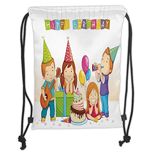 Fevthmii Drawstring Backpacks Bags,Birthday Decorations for Kids,Colorful Kindergarten Party Cone Hats Cake Boxes Music Print,Multicolor Soft Satin,5 Liter Capacity,Adjustable String Closur