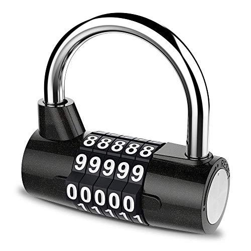 Hangslot - U-type 5-cijferige combinatieslot voor sportschool, sport, school- en werknemerskluisjes, buiten, hek, gesp en opslag - metaal en staal - eenvoudig om uw eigen sleutelloze reset in te stellen