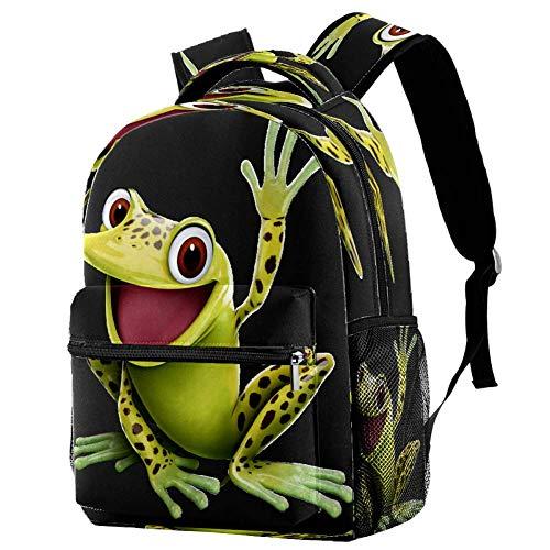 Mochila escolar con diseño de rana de árbol en una hoja, mochila para libros, mochila informal para viajes, estampado 7, Talla única, Mochila de a diario