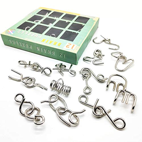 Brain Teaser Puzzles for Kids and Adults - Pack of 12, iKeelo Metal Puzzle Bundle for Mind, IQ and Logic Test, Challenging Disentanglement Games for Party, Holiday, Office (Advanced Level)