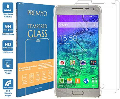 PREMYO Cristal Templado para Samsung Galaxy Alpha Protector Pantalla para Galaxy Alpha Dureza 9H Bordes 2,5D Vidrio Lámina Protección Compatible con Samsung Alpha Sin Burbujas contra Arañazos