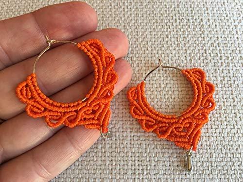 Pendientes aros macramé naranja hechos a mano Son muy ligeros.Pendientes ondas .Aros macrame hoops