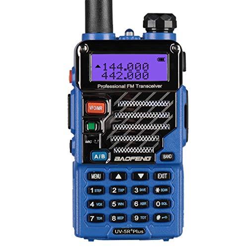 BAOFENG UV-5R Plus Funkgerät Dualband VHF UHF Handfunkgerät 2m 70cm Amateurfunk mit Headset, Blau