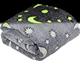 Glow in The Dark Throw Blanket for Kids - Fun, Cozy Fleece Throw Blanket Made from Plush Polyester | Wrinkle-Resistant Soft Blanket Measures 50 x 60 Inches | Grey