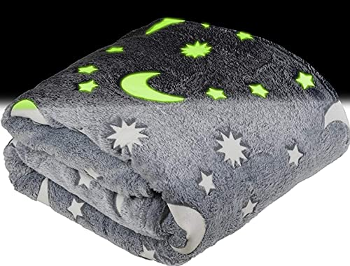 Glow in The Dark Throw Blanket for Kids - Fun, Cozy Fleece Throw Blanket Made from Plush Polyester   Wrinkle-Resistant Soft Blanket Measures 50 x 60 Inches   Grey