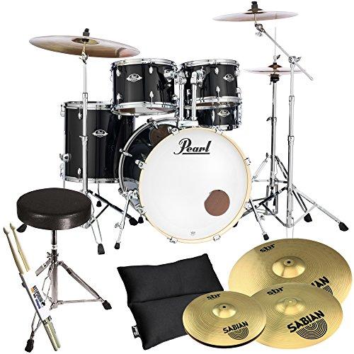 Pearl Export EXX725Z/C31 - Juego de batería y platillos Sabian SBR (con taburete y baquetas Keepdrum), color negro