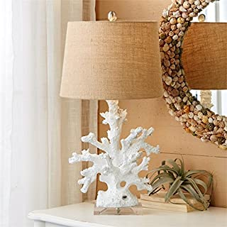Two's Company 51195 Coral Table Lamp with Burlap Shade