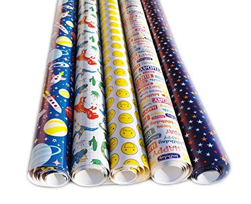 artwelten Geburtstagspapier Junge Geschenkpapier für Kinder 5 Rollen Set 2 m x 0,70 cm für Geburtstags Geschenk Verpackung mit Dino Kosmos Blau