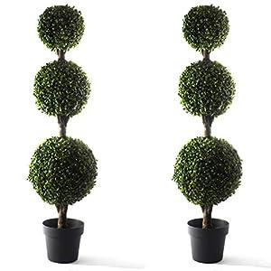 Bornbridge Artificial Boxwood Topiary Ball Tree – 4′ Boxwood Ball Tree – Indoor/Outdoor Topiary Trees – Boxwood Artificial Outdoor Plants – Lifelike Buxus Boxwood Plant (2 Pack)