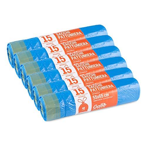 Gallo Sacchi per Pattumiera, Maniglie Autochiudenti, Azzurro, Medium, 6 Rotoli da 15 sacchi