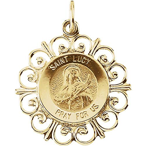 14ct Yellow Gold Round St Lucy Medal Pendant Necklace (18mm)