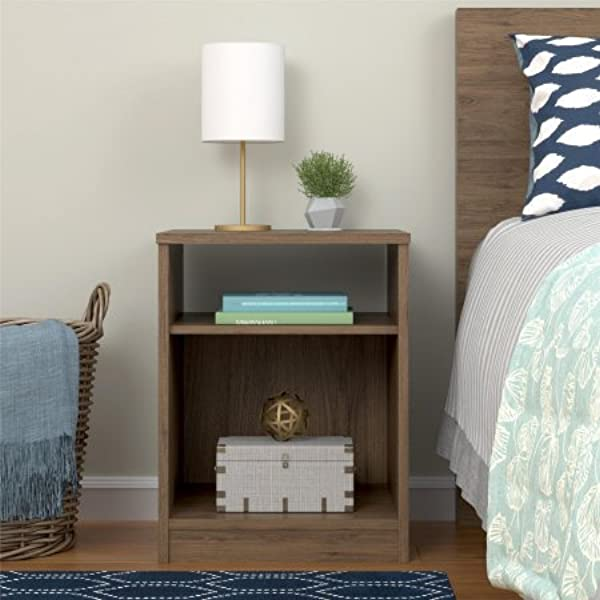 Mainstays Nightstand Features Open Top Shelf And Bottom Cubby Rustic Oak