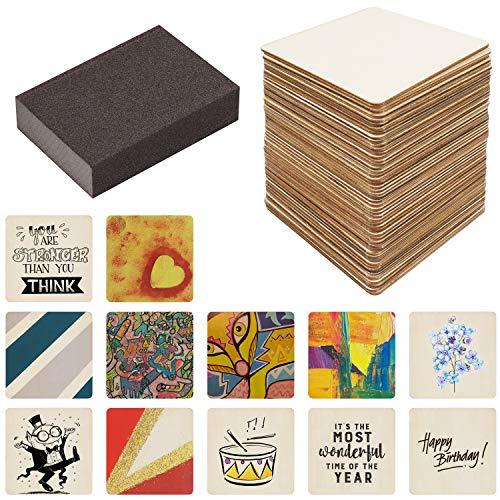 Belle Vous Quadratische Holzscheiben zum Basteln mit Schleifschwamm (50er Pack) - Baumscheibe 10x10cm- 2,5mm Dick - Natürliche Quadratische Holzscheiben Ausschnitte für DIY-Untersetzer und zum Basteln