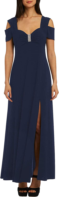 DESIGNER97 Women's Rhinestone Cold Shoulder Elegant Party Dress Sweetheart Neckline Empire Waist Ballgowns