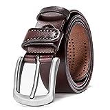 Cinturón de cuero HZHY para hombre, con hebilla antiarañazos, ideal para usar con vestimenta informal, vaqueros y ropa de trabajo Marrón Type 82483 Medium
