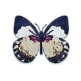 Parche de apliques de lentejuelas de mariposa, apliques grandes para ropa DIY Lentejuelas de parche de mariposa grandes Accesorios de moda para camiseta,sudadera con capucha 8.7 * 7.8 pulgadas Parche