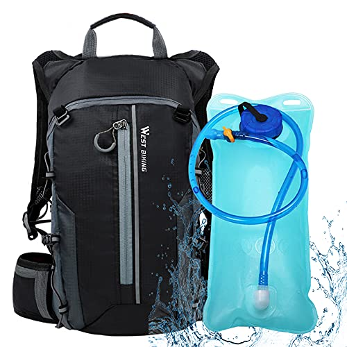 Trinkrucksack, 10L Leichter kleiner Fahrradrucksack mit 2 Liter Trinkblase für Männer und Frauen zum Laufen, Wandern, Reiten, Radfahren