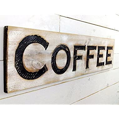 Coffee Sign - Carved in a Cypress Board 40 x10  Rustic Distressed Shop Advertisement Shop Farmhouse Wooden Fixer Upper Style