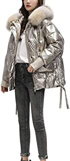 Women's Parka Insulated Jacket with Faux Fur Hood, Short Coat Chic Zipper Parka Warm Outdoor Overcoat, Metal Shiny Jacket, Ideal for Cold Weather,Gold,M