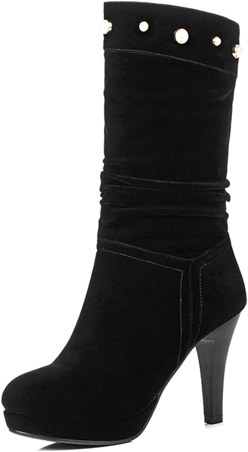 Womens Boot Mid Calf Boots High Heel Round Toe Party Suede shoes Size for Fall Winter