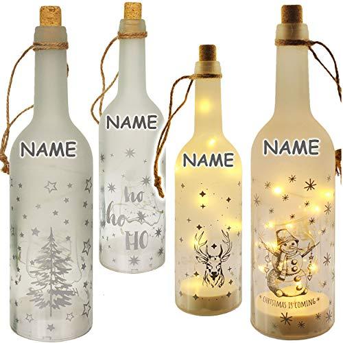 alles-meine.de GmbH Glas - LICHT Dekoflasche - 10 Stück LED - Weihnachten & Winter - inkl. Name - Lichtflasche / Flasche mit Licht - 30 cm - Batterie betrieben - warmweiß - Flasc..