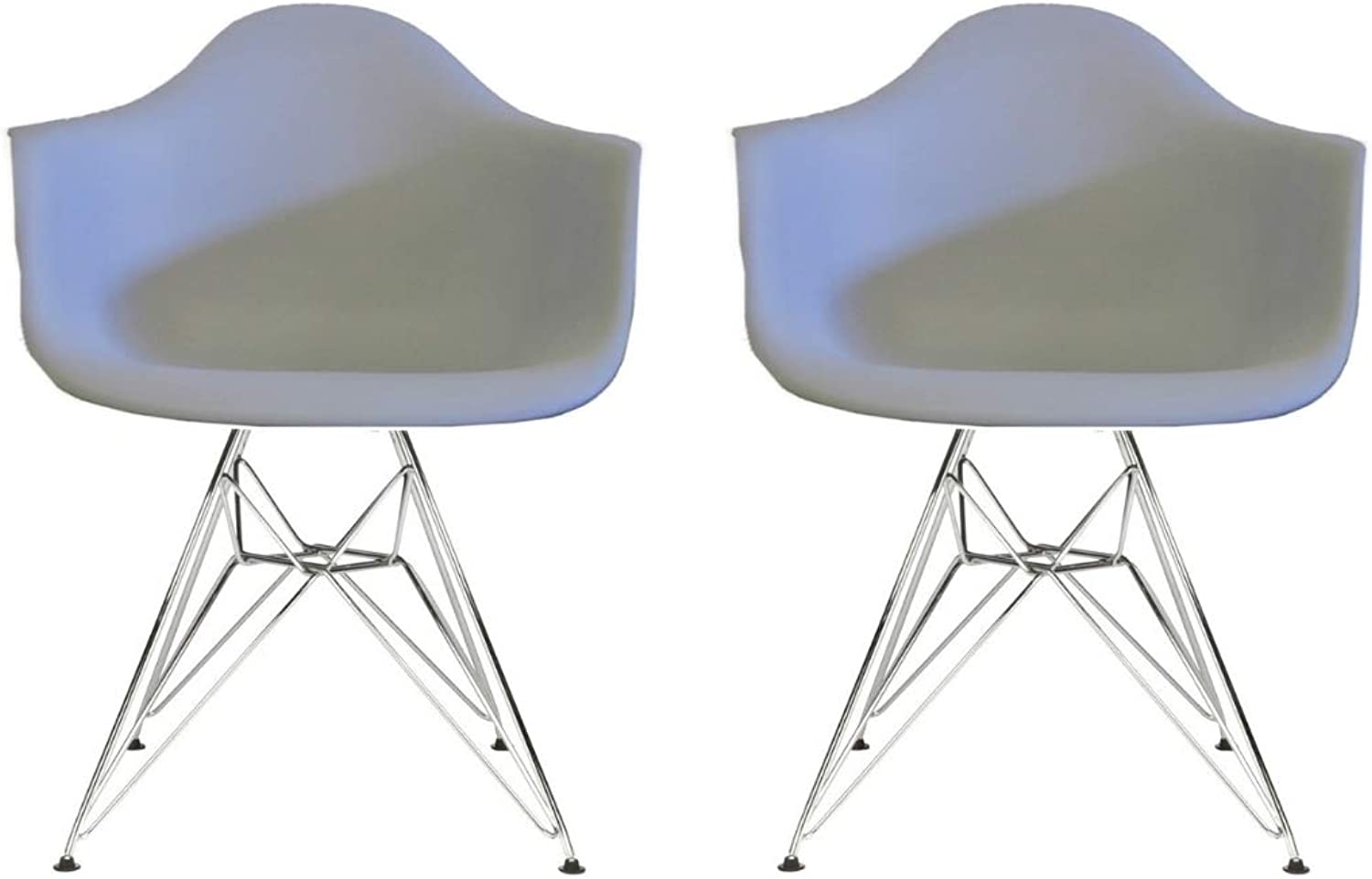 silver Import Eiffel Style Bucket Chair with Chrome Legs, Light Grey, Set of 2, Dining Chair
