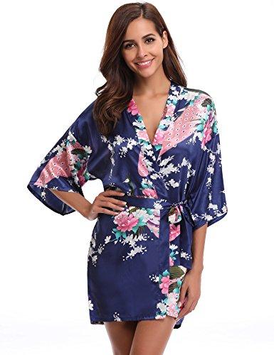 Aibrou Kimono Mujer Bata Corto Sexy y Elegante con Pavo & Flores Pijamas Albornozes Camison Mujer Suave,Cómodo,Sedoso y Agradable