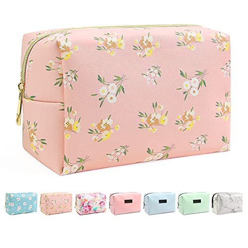Small Makeup Bag For Purse, MAANGE Travel Cosmetic Bag Makeup Pouch PU Leather Portable Versatile Zipper Pouch For Women (Flower)