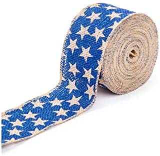 Darice Blue Star Burlap Ribbon: 2-1/2 inches x 25 feet