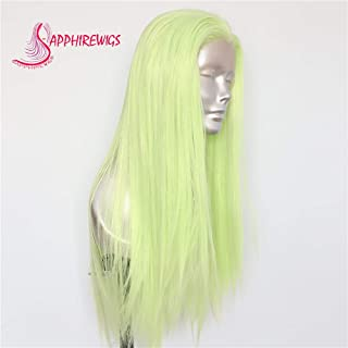 Sapphirewigs Light Fluorescent Neon Green Fashion Cosplay Blogger Internet Celebrity Daily Makeup Synthetic Lace Front Wigs