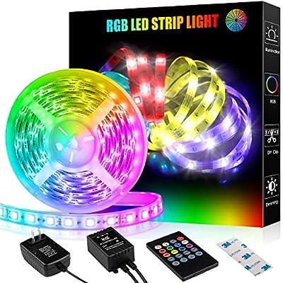 LED Strip Lights, 16.4ft RGB Led Light Strip with Remote Color Changing 5050 LED Rope Lights Strip Sync to Music for Home Bedroom Lighting Kitchen Bed Flexible Strip Lights for Bar Home Decoration