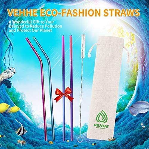 """VEHHE Metal Straw Stainless Steel Straws Drinking Reusable Straws 4 Set -10.5"""" Ultra Long Rainbow Color-Cleaning Brush for 20/30 Oz for Yeti RTIC SIC Ozark Trail Tumblers (2 Straight 2 Bent 1 Brush)"""