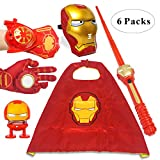Fundisinn Cartoon Superhero Costume 5 Packs Light Mask & Satin Cape & Light Gloves & Adjustable Sword & Fire Gloves Dress Up Costumes for Kids Halloween Toy Party Gift