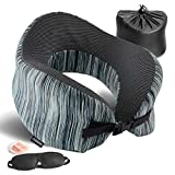 YOUDENOVA Higher Back Design Travel Pillow Memory Foam with Massage Part, Neck Pillow Full Chin Head Support & U-Shaped Airplane Sleeping Pillow, Travel Kit with 3D Sleep Mask and Ear Plug